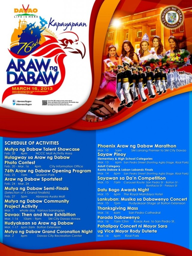 76th Araw ng Dabaw Schedule