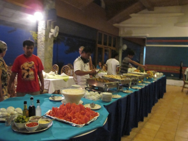 Buffet dinner at Duka Bay Resort.