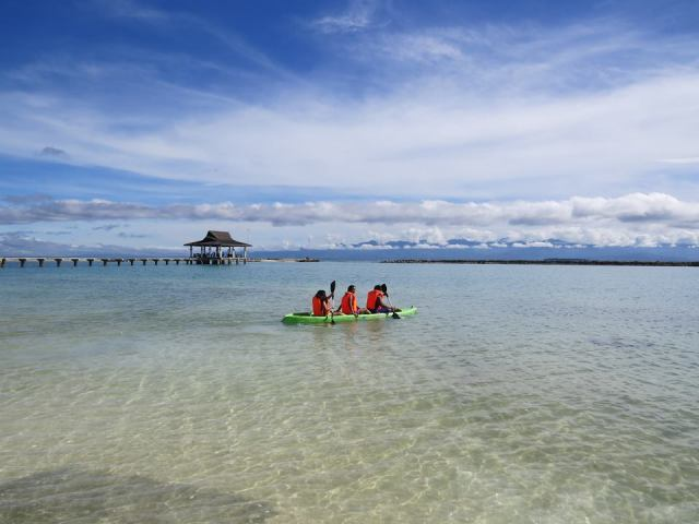 kayaking at secdea beach resort, samal island