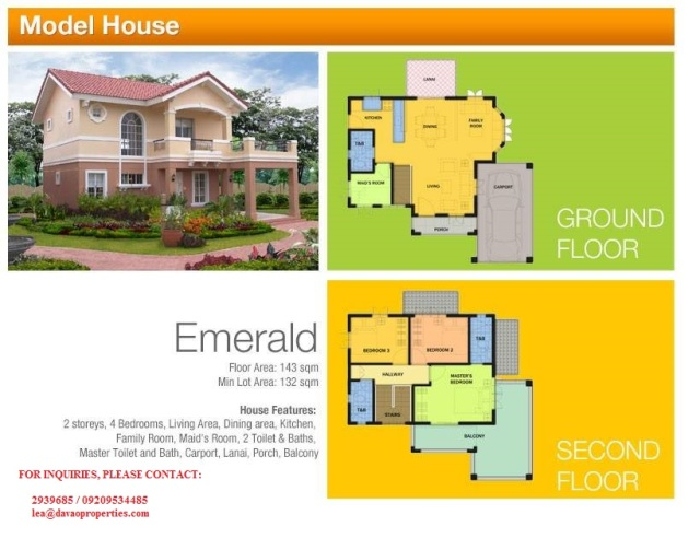 emerald model house, house for sale davao, davao house for sale, camella homes