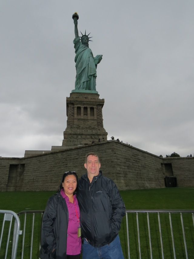At the Statue of Liberty.