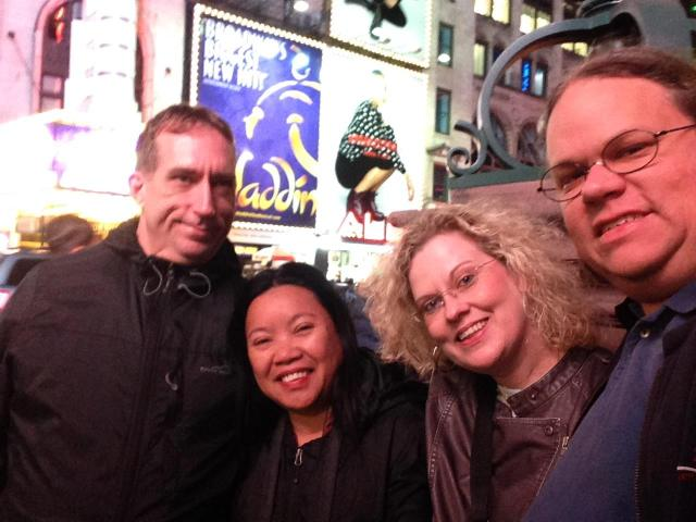 In Times Square with John, my (sister and brother)  inlaw.